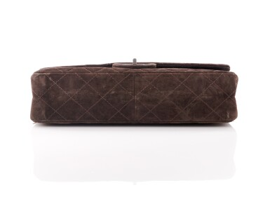 View 3. Thumbnail of Lot 61. Dark brown suede leather and silver-tone metal 2.55 reissue shoulder bag.