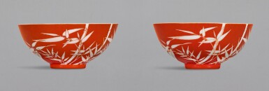 A PAIR OF CORAL-GROUND REVERSE-DECORATED 'BAMBOO' BOWLS, QIANLONG SEAL MARKS AND PERIOD | 清乾隆 珊瑚紅地留白竹紋盌一對 《大清乾隆年製》款