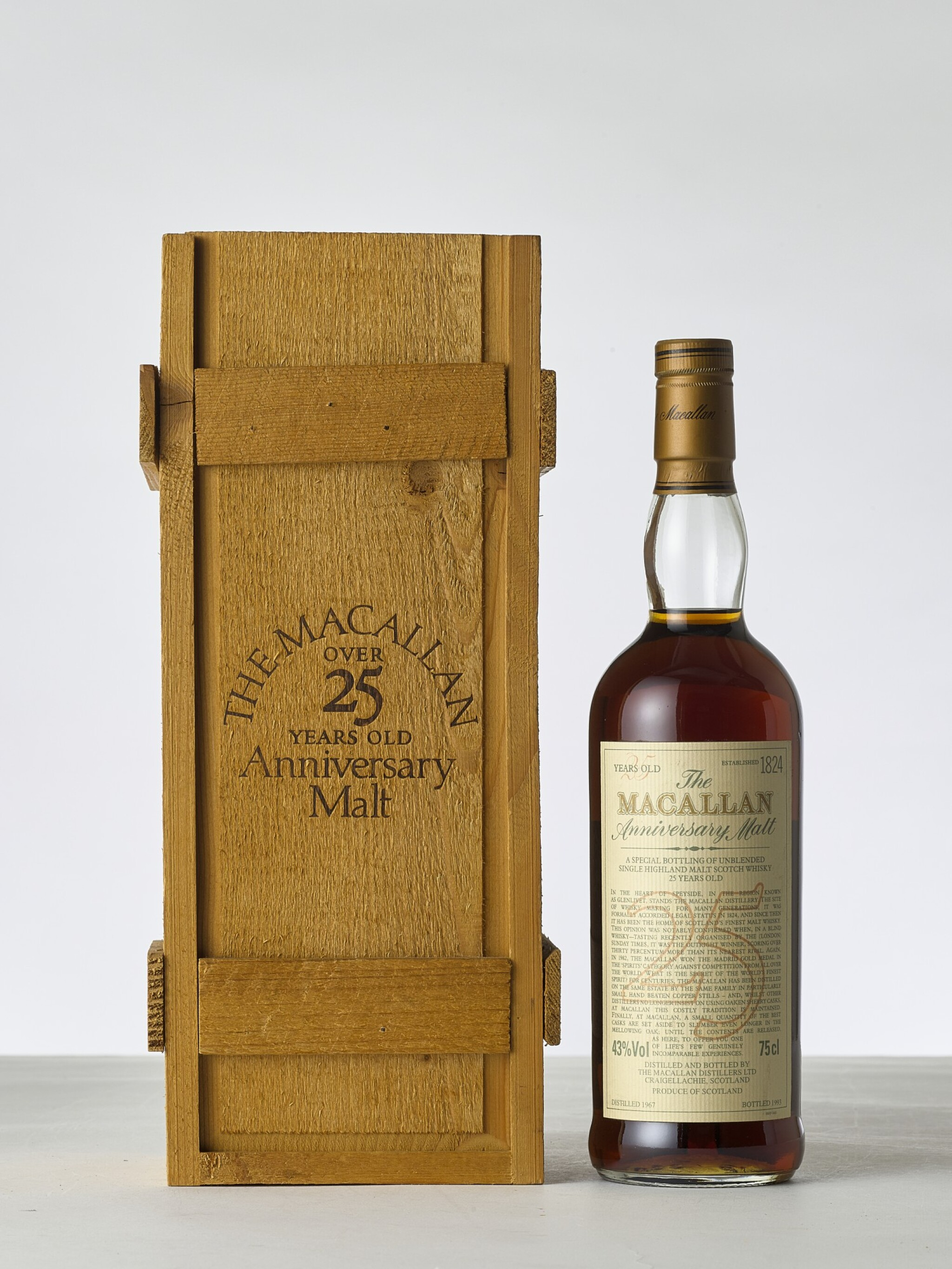 View 1 of Lot 2009. The Macallan 25 Year Old Anniversary Malt 43.0 abv 1967 (1 BT).