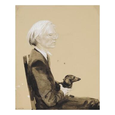 JAMIE WYETH | ANDY WARHOL SITTING WITH ARCHIE (NO. 9)