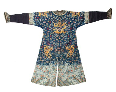 View 2. Thumbnail of Lot 1055. A BLUE-GROUND SUMMER GAUZE 'DRAGON' ROBE, QING DYNASTY, EARLY 19TH CENTURY.