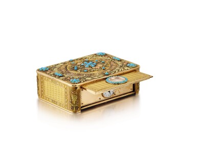 "View 5. Thumbnail of Lot 2092. LES FRÈRES ROCHAT   NO 181, A VARI-COLOUR GOLD AND TURQUOISE SINGING BIRD BOX WITH QUARTER REPEATING WATCH, CIRCA 1820   ""NO181 多色黃金鑲綠松石鳥鳴盒子,備大三針及二問鐘錶,約1820年製""."