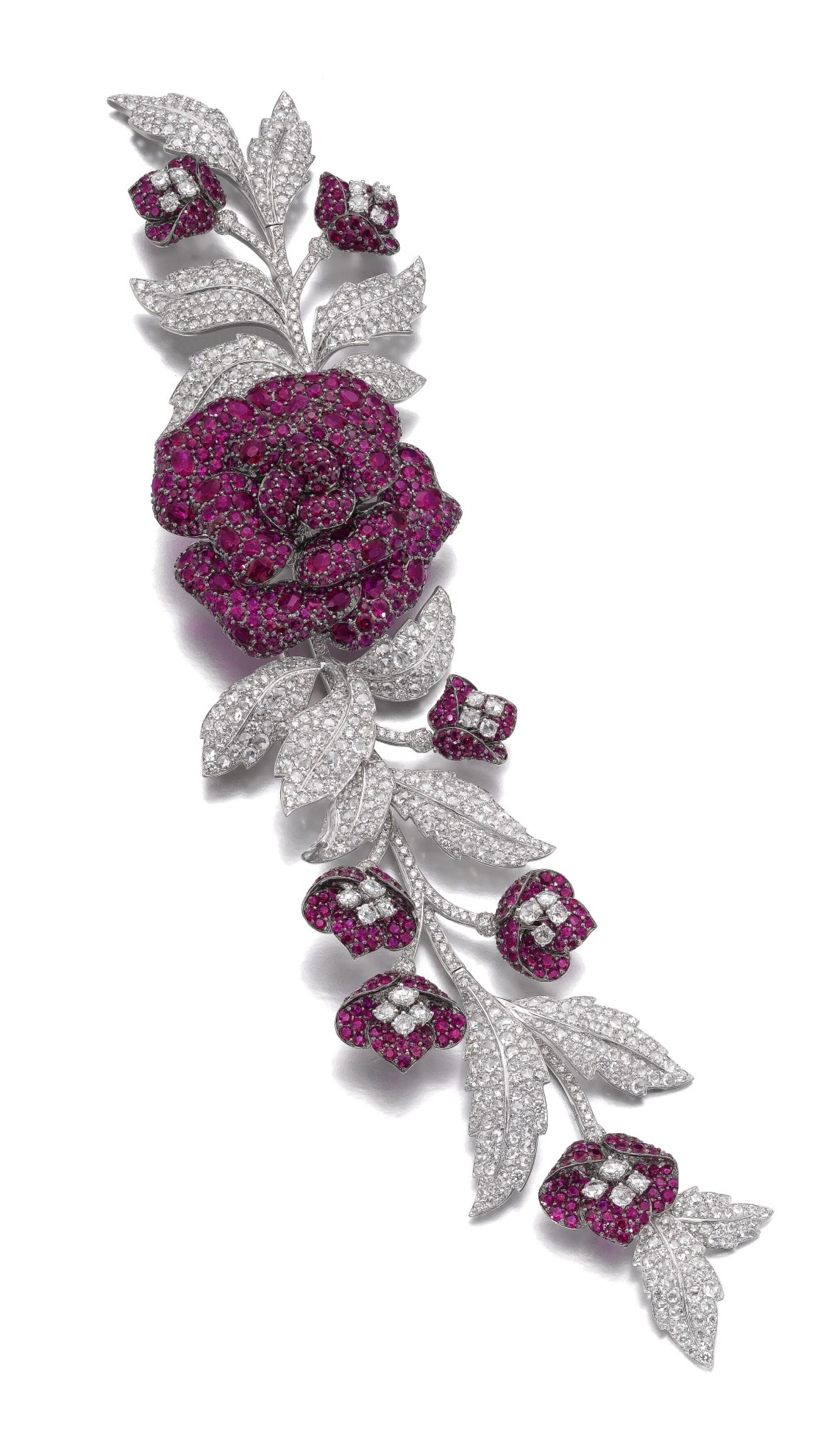 View full screen - View 1 of Lot 632. Michele della Valle   Ruby and diamond brooch   Michele della Valle   紅寶石配鑽石別針.