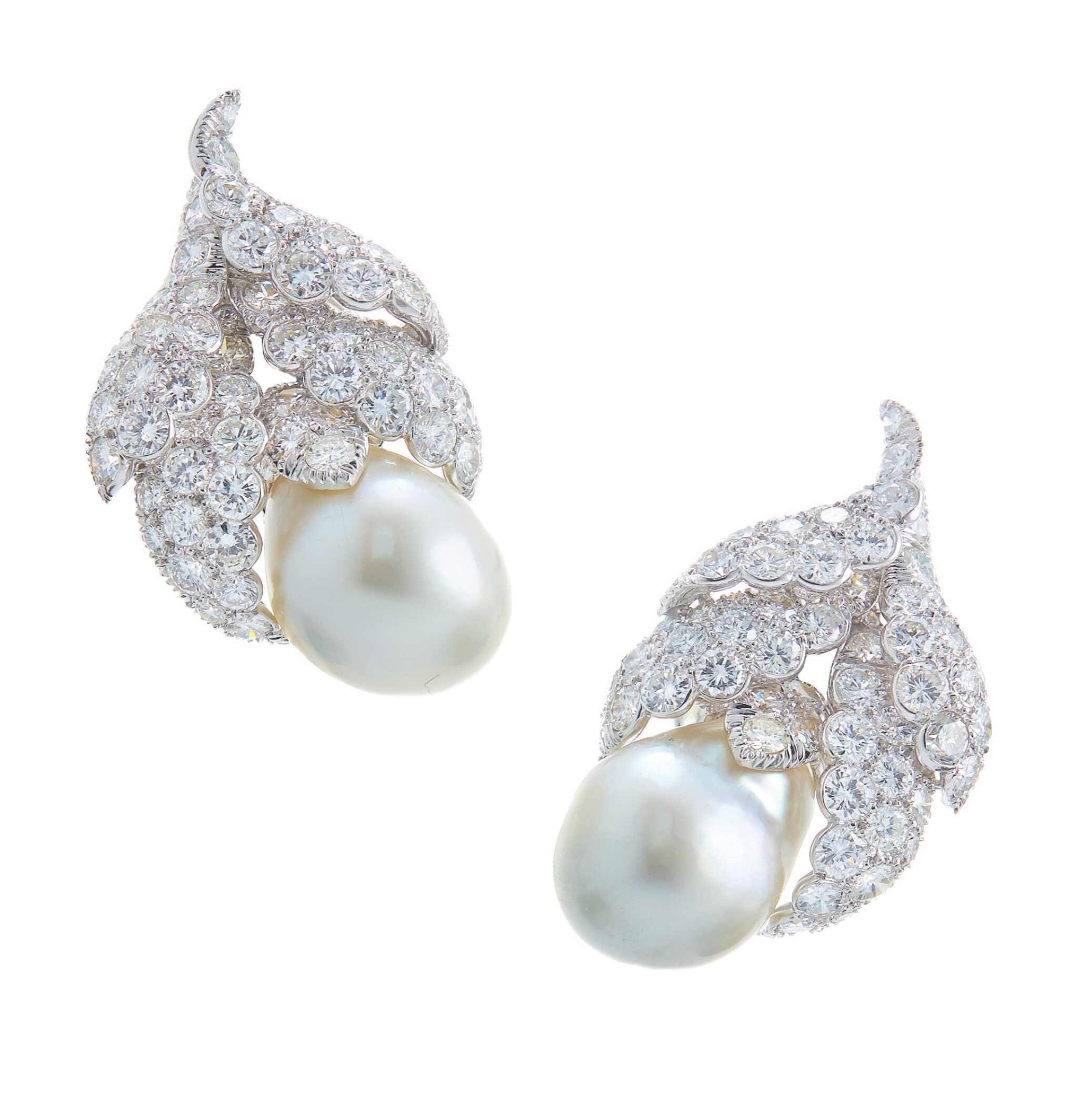View full screen - View 1 of Lot 47. DAVID WEBB | PAIR OF CULTURED PEARL AND DIAMOND EARCLIPS.