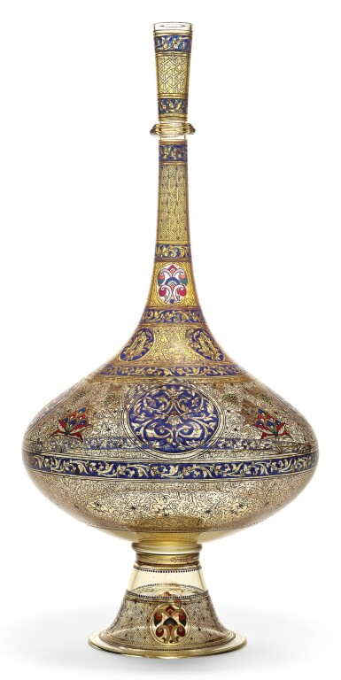 AN ENAMELLED AND GILDED LONG-NECKED GLASS BOTTLE, SIGNED BROCARD, PARIS, FRANCE, 19TH CENTURY