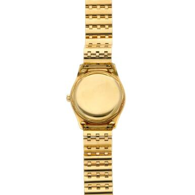 View 6. Thumbnail of Lot 227. Reference 2526  A yellow gold wristwatch with a first series black enamel dial and bracelet, Made in 1954 .