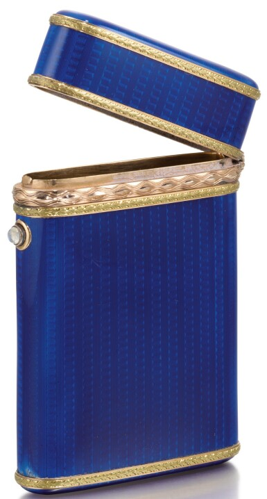 View 3. Thumbnail of Lot 290. A Fabergé Imperial two-colour gold-mounted guilloché enamel cigarette case, workmaster Michael Perchin, St Petersburg, 1899-1903.