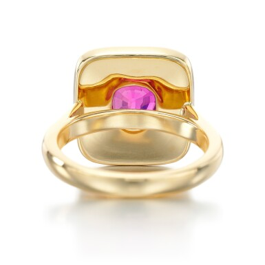 View 3. Thumbnail of Lot 94. PINK SAPPHIRE AND DIAMOND RING.