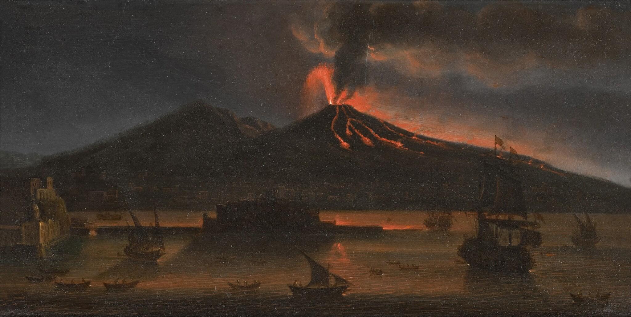 View full screen - View 1 of Lot 8. TOMMASO RUIZ     VESUVIUS ERUPTING AT NIGHT, MAY 1737             .