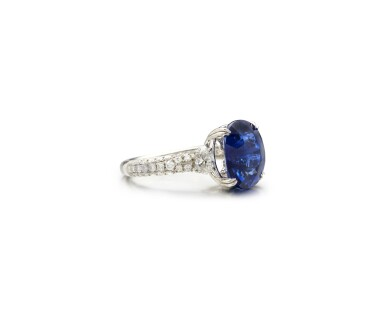 View 2. Thumbnail of Lot 9. SAPPHIRE AND DIAMOND RING.