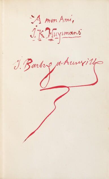 View 2. Thumbnail of Lot 67. Le Chevalier des Touches. 1886. Rel. japonisante, sur hollande avec envoi à Huysmans.