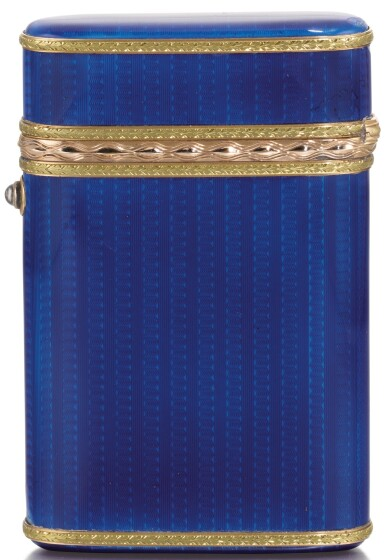 View 1. Thumbnail of Lot 290. A Fabergé Imperial two-colour gold-mounted guilloché enamel cigarette case, workmaster Michael Perchin, St Petersburg, 1899-1903.