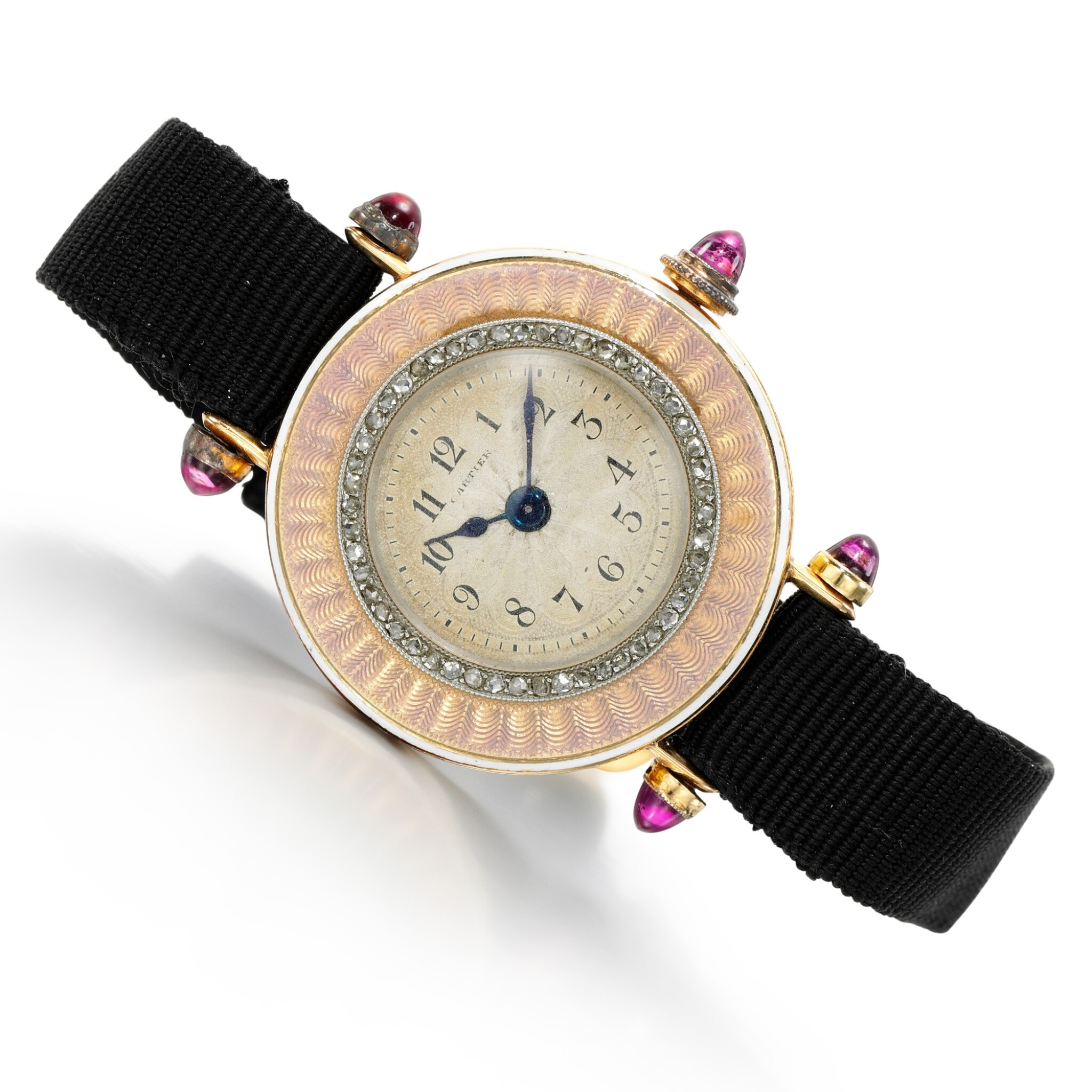 View full screen - View 1 of Lot 185. Lady's gem set and enamel wristwatch.
