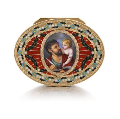 View 5. Thumbnail of Lot 10. A GOLD, HARDSTONE AND ENAMEL SNUFF BOX, JOHANN CHRISTIAN NEUBER, DRESDEN, CIRCA 1775.