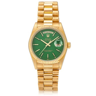 View 1. Thumbnail of Lot 54. 'Stella' Day-Date, Ref. 18038 Yellow gold wristwatch with day, date, bracelet and green 'stella' dial Circa 1988   勞力士18038型號「'Stella' Day-Date」黃金鍊帶腕錶備星期、日期顯示及綠色 Stella 錶盤,年份約1988.