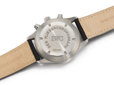 View 3. Thumbnail of Lot 19. IWC | FLIEGERCHRONOGRAPH, REFERENCE 3706, STAINLESS STEEL CHRONOGRAPH WRISTWATCH WITH DAY AND DATE, CIRCA 2000.