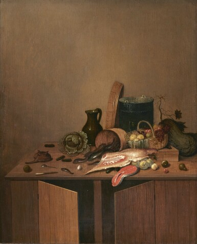 GERRIT VAN VUCHT| KITCHEN STILL LIFE WITH MEAT, FISH, VEGETABLES AND FRUIT ON A WOODEN TABLE