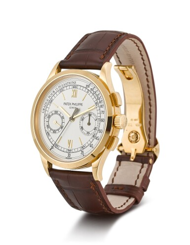 View 2. Thumbnail of Lot 33. PATEK PHILIPPE | REFERENCE 5170, A YELLOW GOLD CHRONOGRAPH WRISTWATCH WITH PULSATION SCALE, CIRCA 2011.