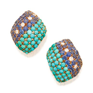 PAIR OF TURQUOISE, SAPPHIRE AND DIAMOND EARCLIPS, DAVID WEBB