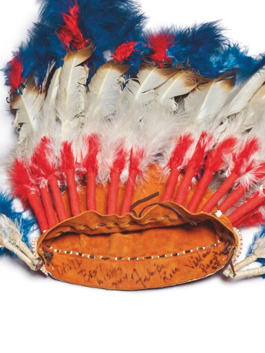 View 2. Thumbnail of Lot 86. [THE VILLAGE PEOPLE] | NATIVE AMERICAN HEADDRESS WORN BY FELIPE ROSE.