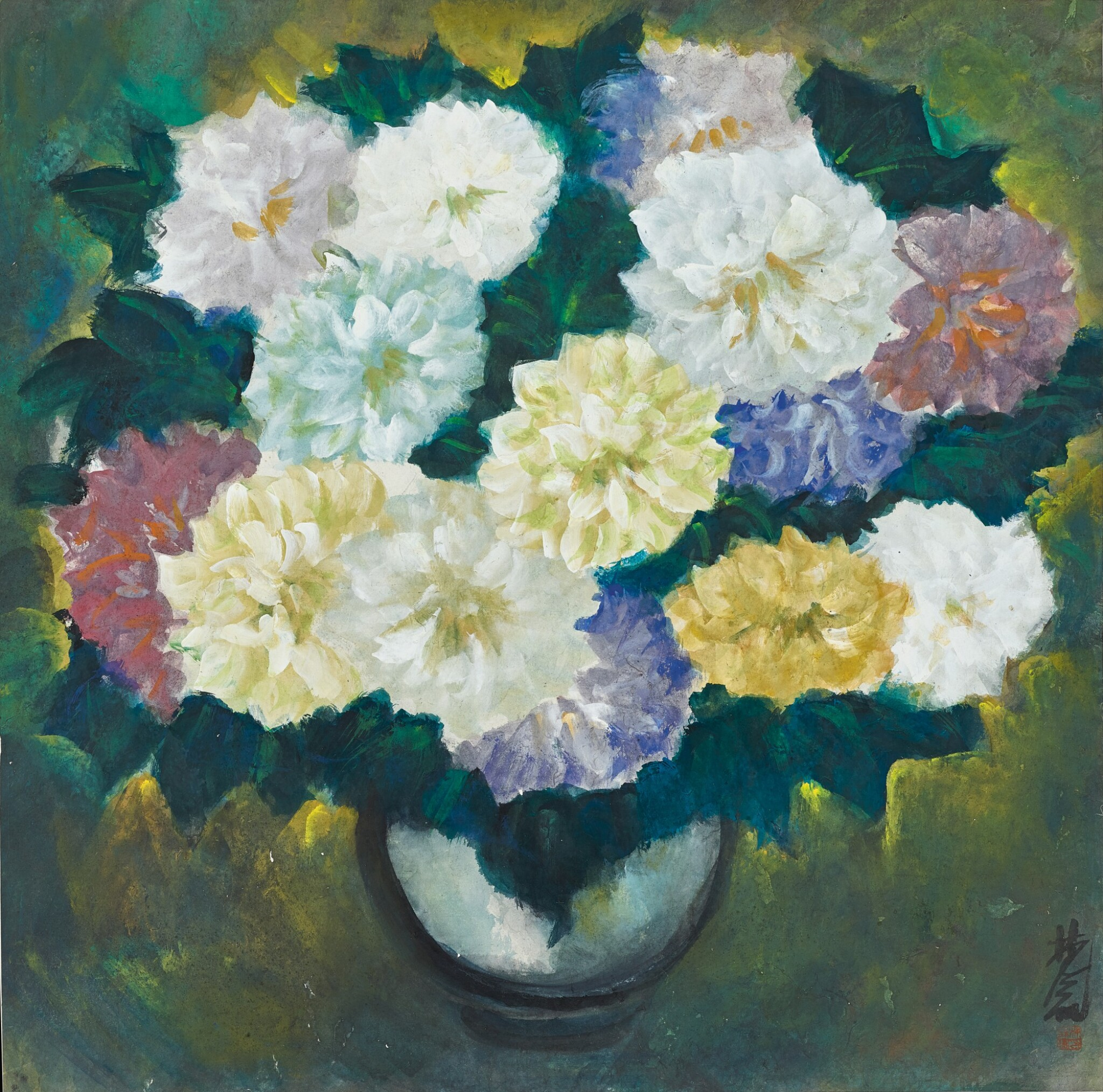 View full screen - View 1 of Lot 2526. Lin Fengmian  林風眠 | Vase of Flowers 瓶花.