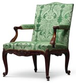A GEORGE II CARVED MAHOGANY ARMCHAIR, MID-18TH CENTURY
