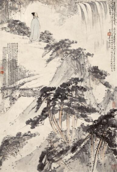 View 1. Thumbnail of Lot 2553.  Fu Baoshi 傅抱石 | Scholar Appreciating the Waterfall 太白〈廬山謠〉詩意.