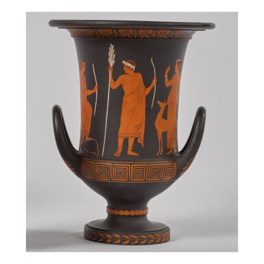 A WEDGWOOD BLACK BASALT 'ENCAUSTIC'-DECORATED CALYX-KRATER VASE EARLY 19TH CENTURY