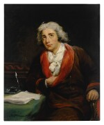 Portrait of the poet André Chénier (1762-1794), three-quarter length, seated at a table covered in a green cloth with papers and an inkwell, his hand tucked into his jacket