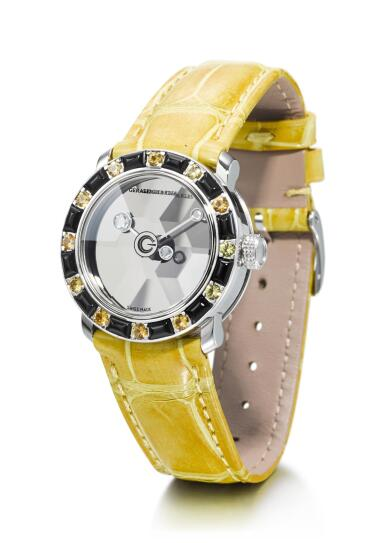 View 4. Thumbnail of Lot 8078. GERALD CHARLES | STAR LADY, A SET OF TWO STAINLESS STEEL AND DIAMOND, YELLOW SAPPHIRE, OYNX, AMETHYST AND CORAL-SET WRISTWATCHES, CIRCA 2000.
