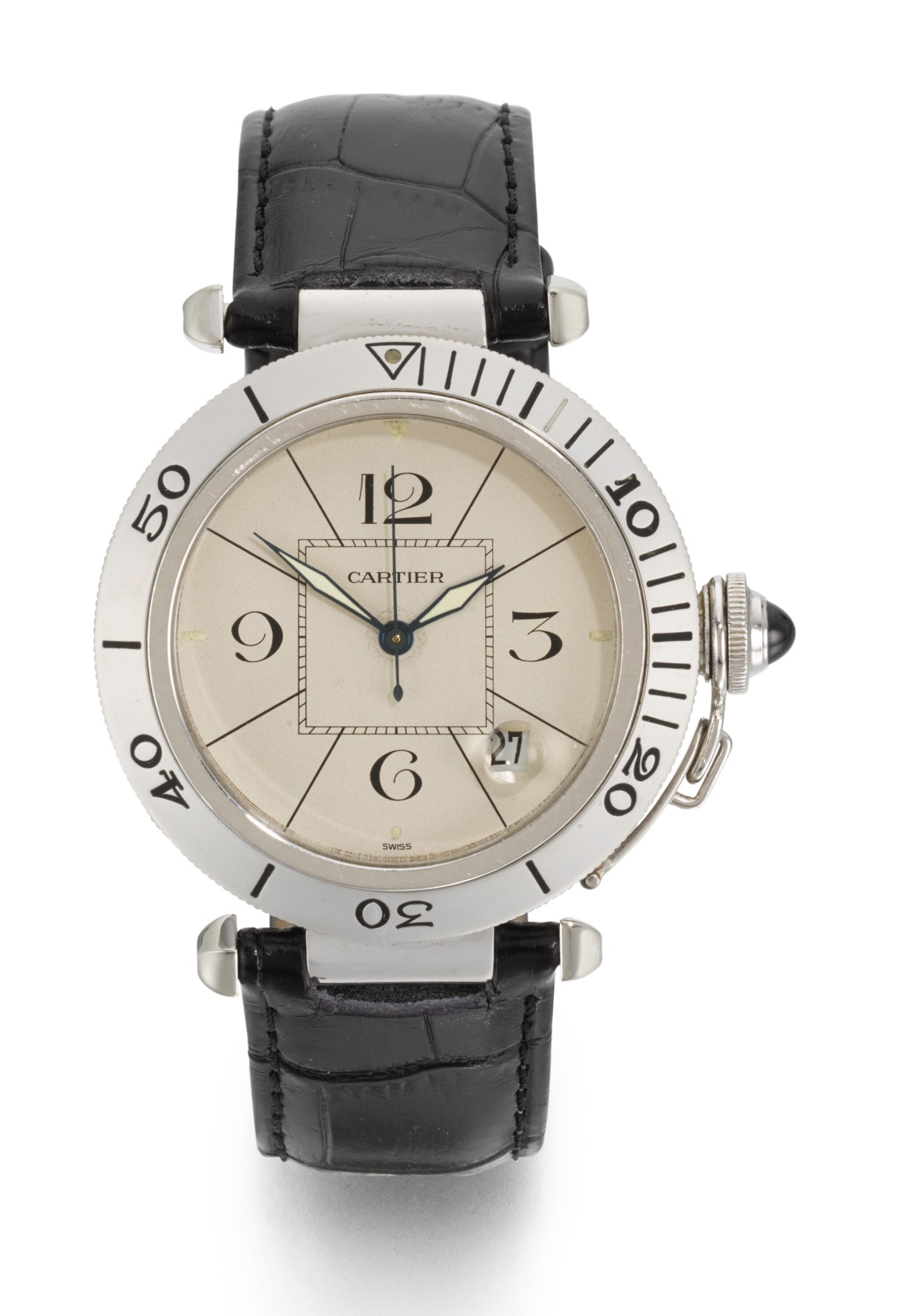 View full screen - View 1 of Lot 17. CARTIER | PASHA, REFERENCE 1990, WHITE GOLD WRISTWATCH WITH DATE, CIRCA 1995.