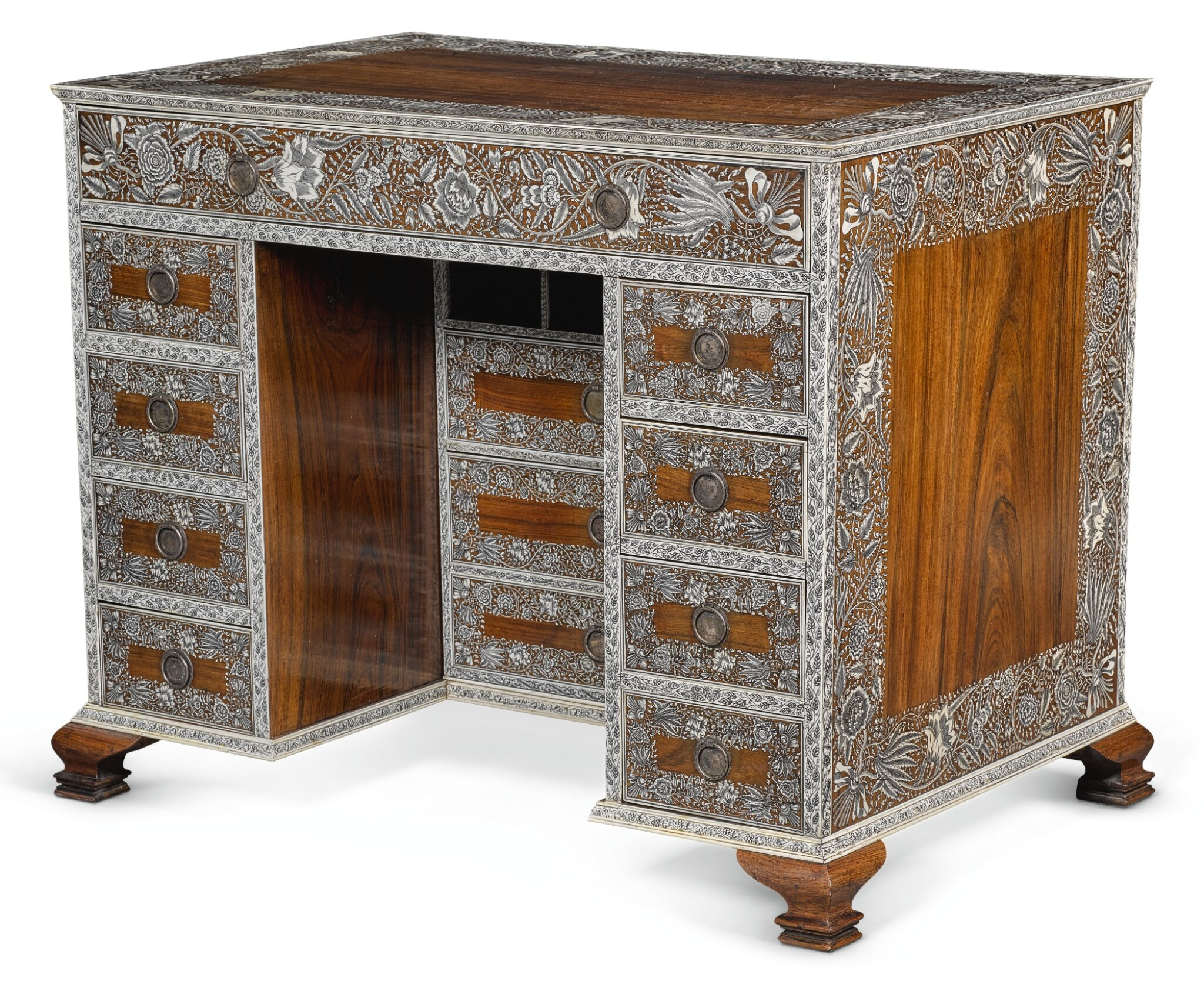 View full screen - View 1 of Lot 175. AN ANGLO-INDIAN IVORY INLAID ROSEWOOD WRITING OR DRESSING TABLE, VIZAGAPATAM, MID-18TH CENTURY.