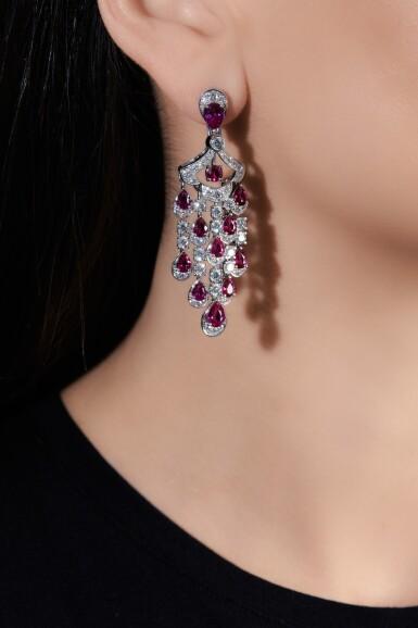 View 4. Thumbnail of Lot 651. Graff | Pair of ruby and diamond pendent earrings | 格拉夫 | 紅寶石配鑽石耳墜一對 .