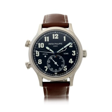 View 1. Thumbnail of Lot 63. REFERENCE 5524G-001 PILOT CALATRAVA TRAVEL TIME A WHITE GOLD AUTOMATIC DUAL TIME WRISTWATCH WITH DATE, LOCAL AND HOME TIME, AND DAY/NIGHT INDICATION, CIRCA 2016.