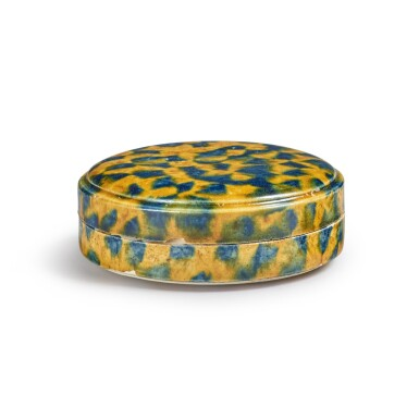 View 2. Thumbnail of Lot 176. A dappled blue-and-amber-glazed box and cover, Tang dynasty | 唐 三彩加藍蓋盒.