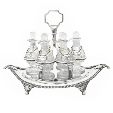 View 1. Thumbnail of Lot 264. A GEORGE III SILVER CRUET SET, WILLIAM BURWASH AND RICHARD SIBLEY, LONDON, 1808.