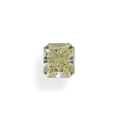 A 2.01 Carat Fancy Yellow Cut-Cornered Rectangular Modified Brilliant-Cut Diamond, SI1 Clarity