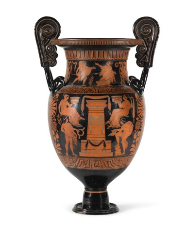 A LARGE TWO-HANDLED ATTIC-STYLE VOLUTE-KRATER, 19TH CENTURY, NAPLES, GIUSTINIANI