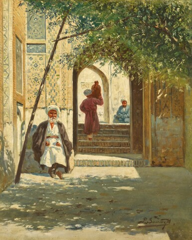 View 1. Thumbnail of Lot 22. RICHARD KARLOVICH ZOMMER | A SHADED ARCHWAY AND MOSQUE IN TURKESTAN (A PAIR).