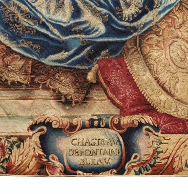 """View 4. Thumbnail of Lot 40. A GOBELINS ROYAL MANUFACTURE TAPESTRY FROM THE SERIES """"MAISONS ROYALES"""" DEPECTING THE FONTAINEBLEAU CASTLE, LOUIS XV, EARLY 18TH CENTURY, AFTER A DESIGN OF CHARLES LE BRUN   TAPISSERIE ALLÉGORIQUE DE LA MANUFACTURE DES GOBELINS TIRÉE DE LA TENTURE DES MAISONS ROYALES REPRÉSENTANT LE CHÂTEAU DE FONTAINEBLEAU D'ÉPOQUE LOUIS XIV, DÉBUT DU XVIIIÈME SIÈCLE, D'APRÈS UN CARTON DE CHARLES LE BRUN."""