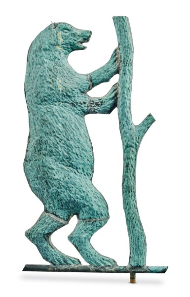 View 2. Thumbnail of Lot 1470. VERY FINE AND RARE MOLDED SHEET-COPPER PERFORMING BEAR WEATHERVANE, J.L. MOTT IRON WORKS, NEW YORK AND CHICAGO, CIRCA 1886-92.
