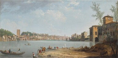 View 1. Thumbnail of Lot 56. THOMAS PATCH  |  FLORENCE, A VIEW OF THE RIVER ARNO WITH THE PONTE ALLE GRAZIE.