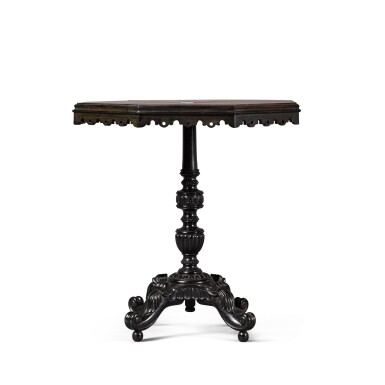 View 3. Thumbnail of Lot 136. AN ANGLO-SINGHALESE EBONY AND SPECIMEN WOOD TABLE, PROBABLY GALLE DISTRICT, SECOND HALF 19TH CENTURY.