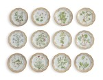 TWELVE ROYAL COPENHAGEN 'FLORA DANICA' LARGE RETICULATED DISHES, MODERN