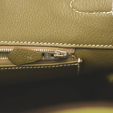 """View 9. Thumbnail of Lot 31. Hermès Bi-color Kiwi and Lichen """"Candy"""" Birkin 35cm of Epsom Leather with Palladium Hardware."""