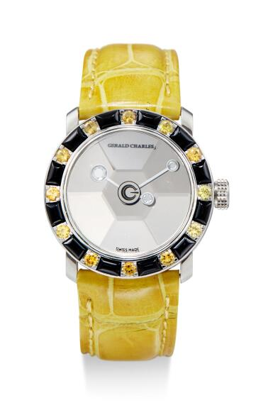View 2. Thumbnail of Lot 8078. GERALD CHARLES | STAR LADY, A SET OF TWO STAINLESS STEEL AND DIAMOND, YELLOW SAPPHIRE, OYNX, AMETHYST AND CORAL-SET WRISTWATCHES, CIRCA 2000.
