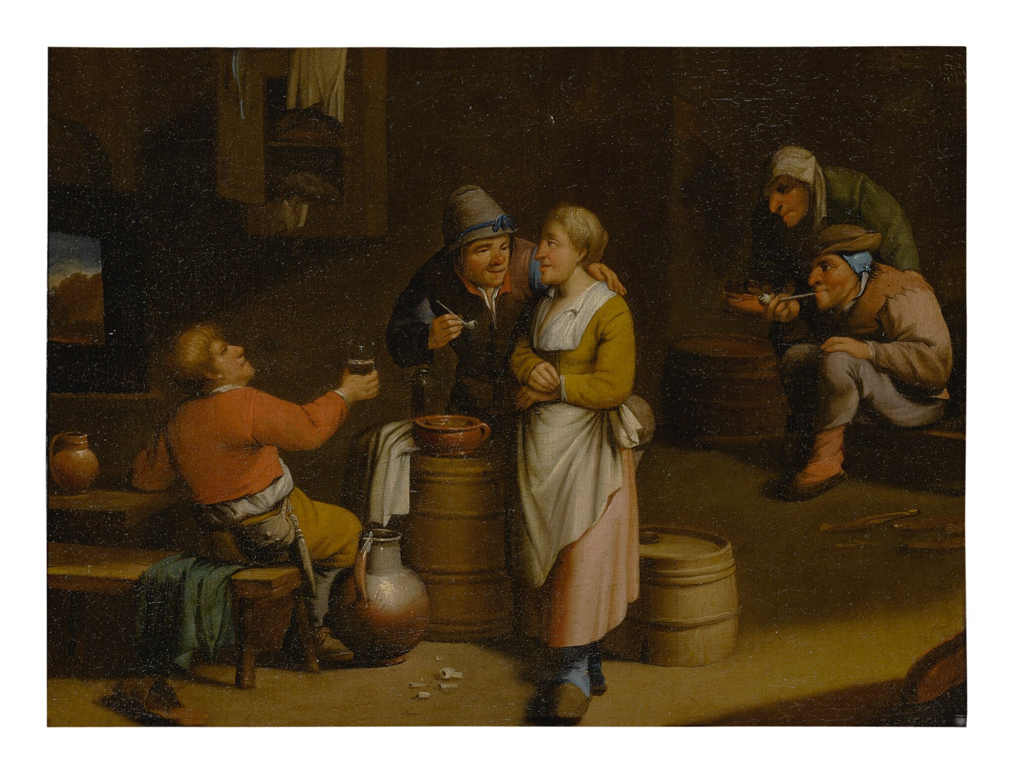 View full screen - View 1 of Lot 530. 19TH CENTURY FOLLOWER OF DAVID TENIERS THE YOUNGER | A TAVERN INTERIOR WITH FIGURES.