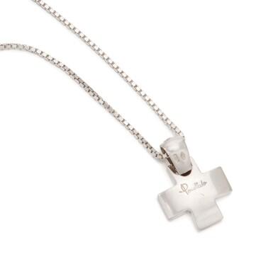 View 4. Thumbnail of Lot 131. Diamond pendant-necklace (Collana con pendente in diamanti).