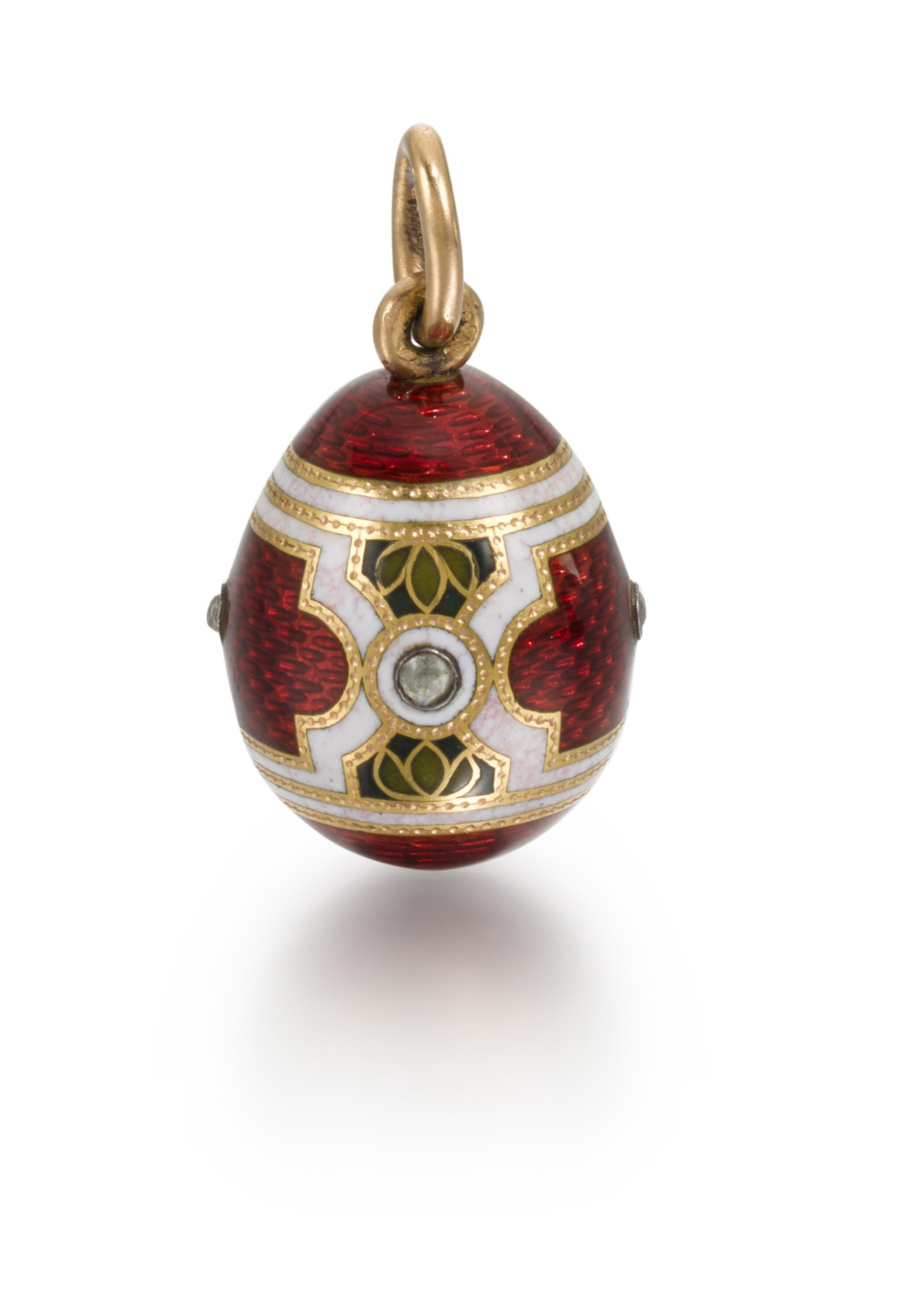 View full screen - View 1 of Lot 6. A Fabergé jewelled gold and guilloché and champlevé enamel egg pendant, workmaster Michael Perchin, St Petersburg, 1899-1903.