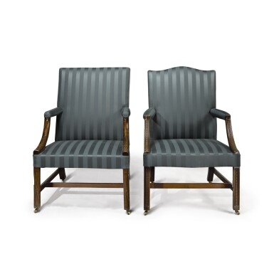 TWO GEORGE III CARVED MAHOGANY LIBRARY ARMCHAIRS, CIRCA 1765